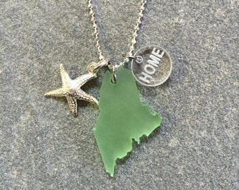 Maine Sea Glass Style Starfish Necklace