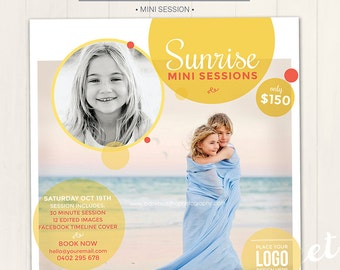 Photography Marketing Board / Summer Mini Session - Photoshop Template for photographers (DM7) - INSTANT DOWNLOAD