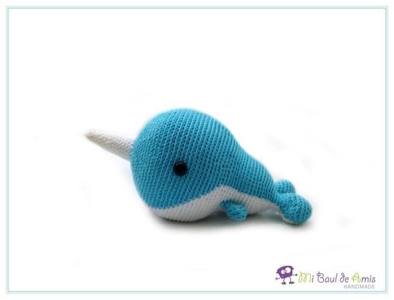 Crochet Amigurumi Blue Whale : Crochet Blue Narwhal Amigurumi Marine Animal Blue Whale