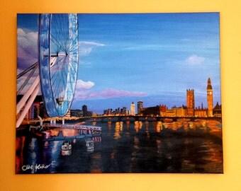 Canvas Glicee Print Millennium Bridge in London England British City Life at Night Modern Art by ChantelKeiko 24x30