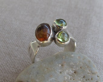 Amber and Peridot ring. Handmade. Sterling Silver set with Peridot and Amber gemstones. Cabochon cut gemstones. Three stone ring. Unique.