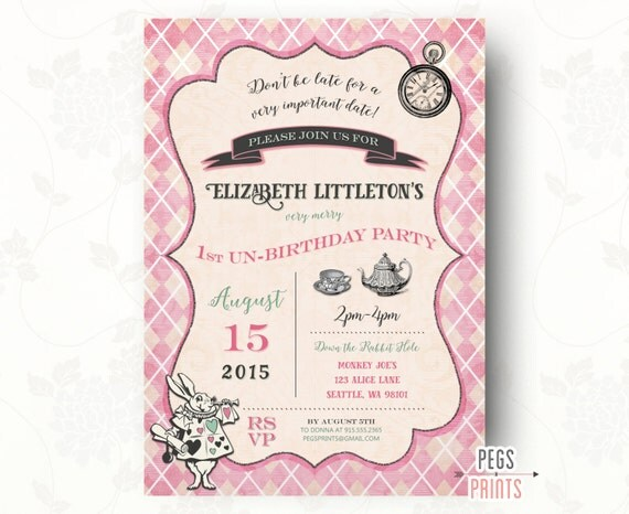 mad hatter tea party invitation printable alice in by