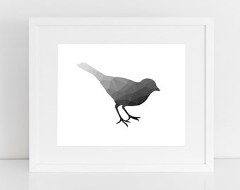 Black Bird Print, Black Bird Art, Polygon Art, Bird Art, Digital Print, Graphic Art, Abstract, Polygon, Bird Print, Printable, Wall Prints
