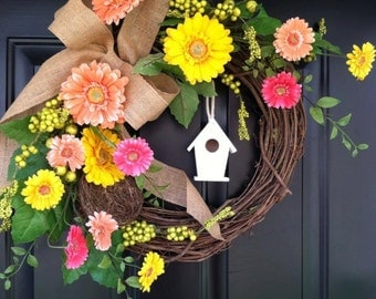 Luxe Gerber Daisy Wreath - Birdhouse Burlap Birdhouse Wreath - Spring Wreath - Summer Wreath - MothersDay Gift - Housewarming Gift - Wreaths