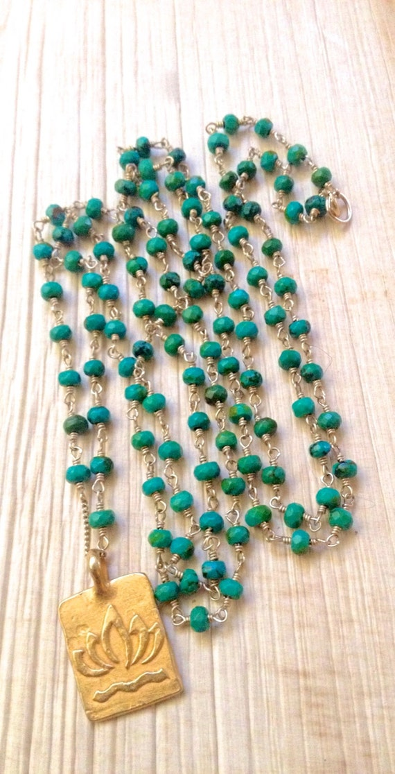 Genuine Turquoise Mala Beads 108 Beads Hand Wire Wrapped 14K Gold Fill Vermeil Lotus Pendant Yoga Inspired Rosary Style
