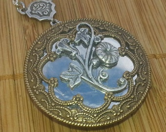 Morning Glory Victorian Style Locket - vintage inspired floral filigree silver