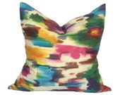 Watercolor Abstract Pillow - multicolor abstract watercolor ikat decorative linen pillow cover - CHOOSE YOUR SIZE