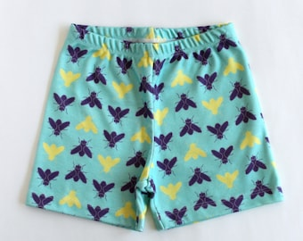 Little hipster shorts with flies. ORGANIC kids shorts. Turquoise Baby shorts with bugs. Toddler bottoms. Girls shorts/ boys pull-on shorts.