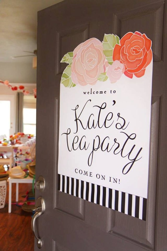 Printable tea party welcome sign floral black and white for Kitchen tea ideas jhb