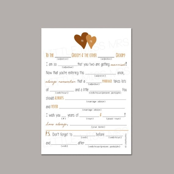 Two Grooms // Printable Mad-lib Wedding Advice cards for the Grooms-to-be (brown/gold)