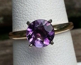 Amethyst Ring, 14K amethyst ring, Amethyst solitaire, February Birthstone Ring, Birthstone Jewelry, Round Amethyst Ring, Gold Jewelry