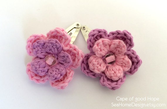 Crochet Hair Barrettes : Hair clips Barrette Accessories crochet children baby bridal Pins ...