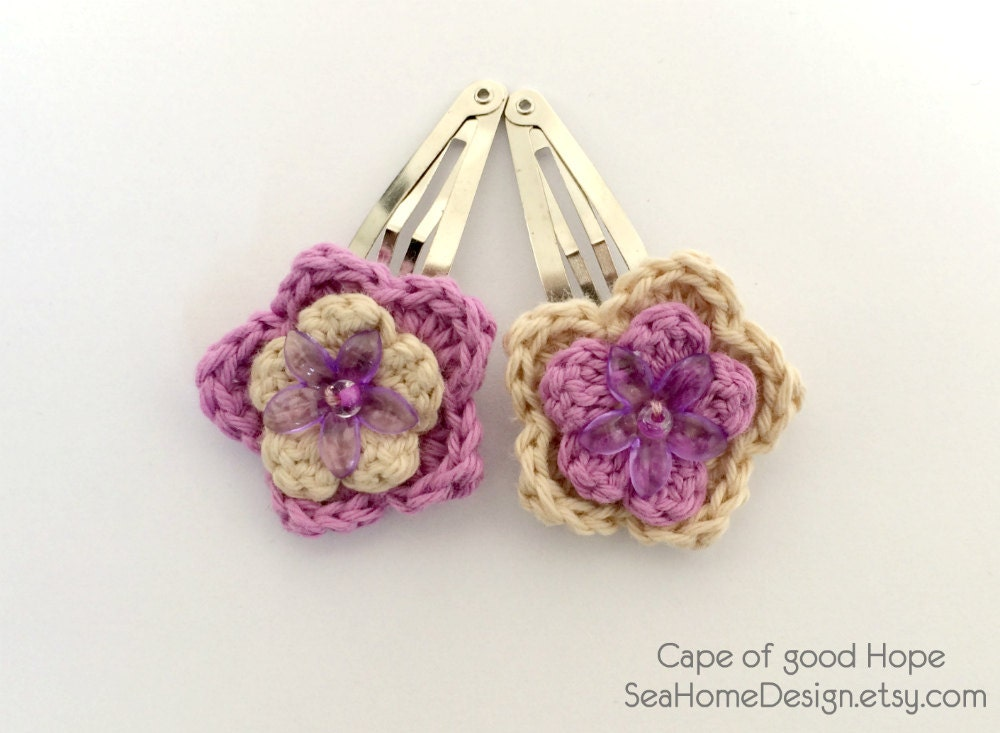 Hair clips Barrette Accessories crochet children by SeaHomeDesign