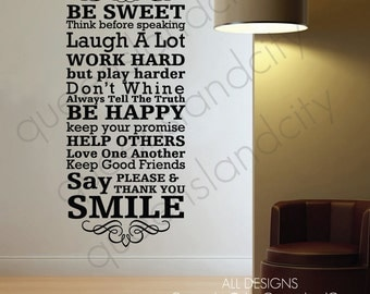 House Rules In This House Family Love Wall Quote Family Inspirational Art Decal Vinyl Sticker