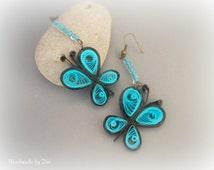 Paper quilled black long butterfly earrings, eco friendly, long earrings, paper quilling earrings, black-blue earrings, butterfly earrings