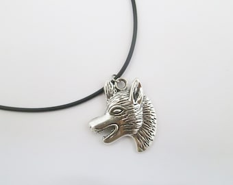 Gothic wolf cord necklace with chain
