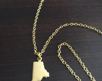 Rhode Island Necklace, Rhode Island, gold Rhode Island necklace, Rhode Island jewelry, Rhode Island pendant, state necklace, state jewelry