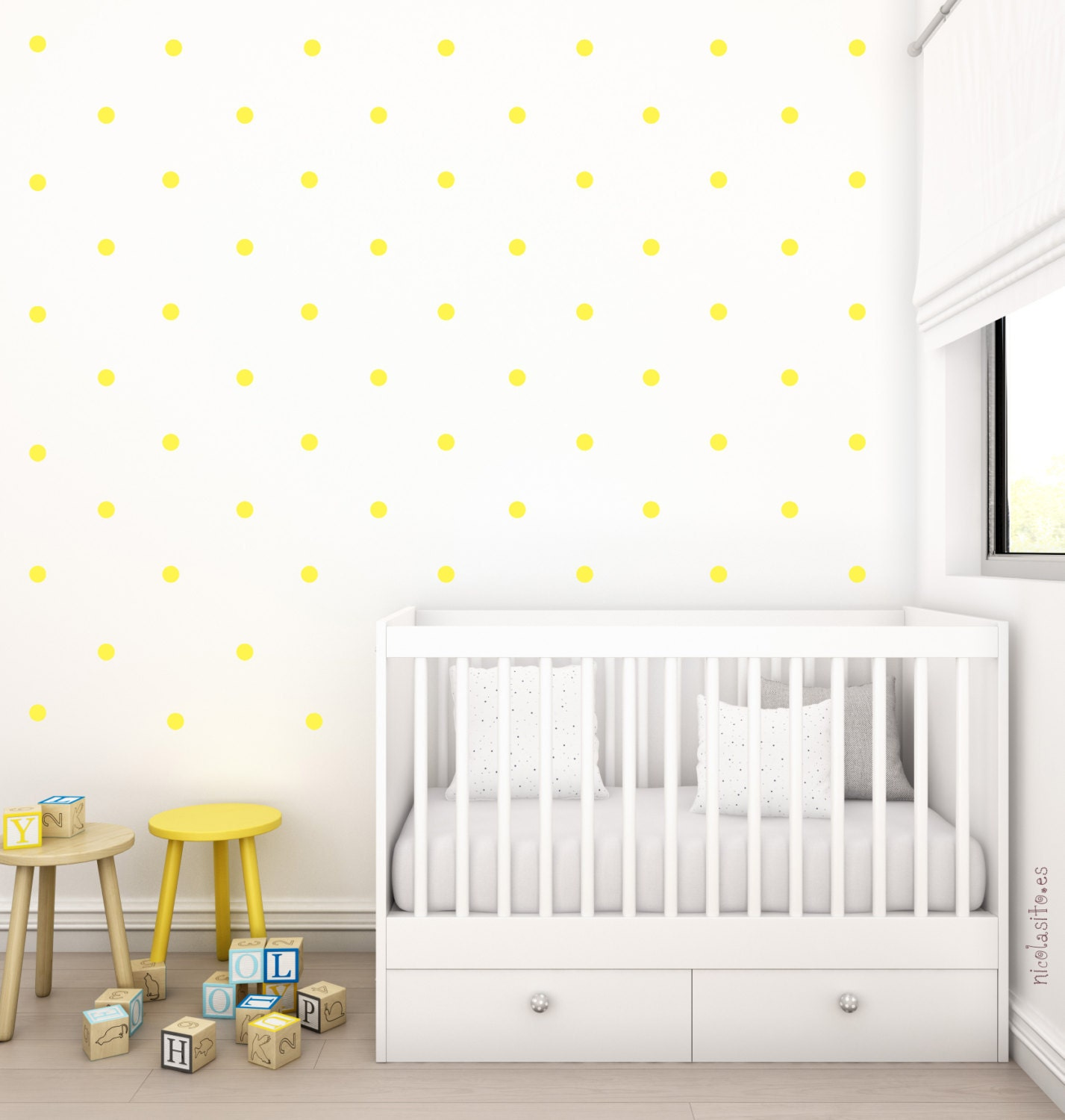 Polka Dot Wall Decals For Kids Rooms : Yellow Polka dots Nursery Wall Decal.Wall Stickers by NicolasitoEs