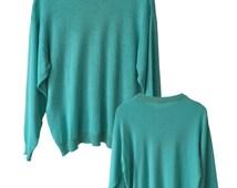 SALE Teal 80s Vintage Knit Sweater Size S M A L L