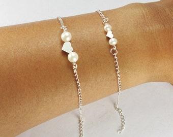 Mother Daughter Heart Pearl Bracelet Set 2, Double Pearl Heart Bracelet,,Big Sister LiL Sis Gift,2 Best Friends Set,.Matching Bracelet.