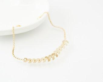 Fishbone bracelet, fishbone chain, gold bracelet, charm bracelet, gold chain bracelet, cute bracelet, friendship bracelet, gold chain