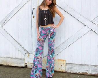 CORAL TUQUOISE PAISLEY  flare leg bell bottom fashion gypsy hippie retro festival yoga beach lounge pants