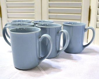 Vintage Corning Ware Mugs Set of 6 Coffee Cup Teacup Robins Egg Blue Pyrex PanchosPorch