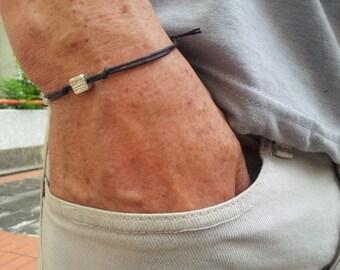 Adjustable men's bracelet, black cord bracelet for men, silver tiny cube charm, black bracelet for men, gift for him, men's jewelry, mC029