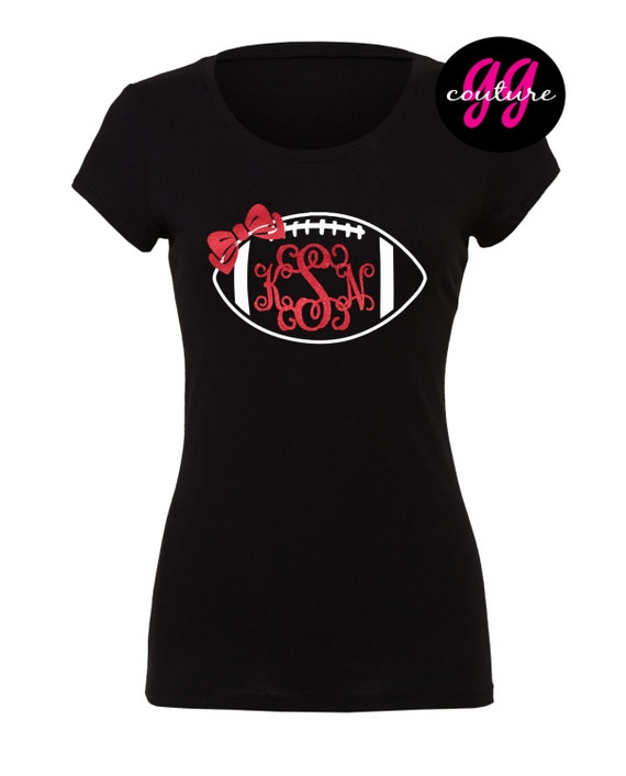 Custom Glitter Football Monogram T Shirt Multiple Color