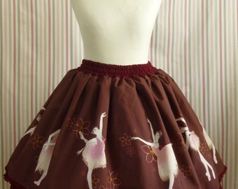 Odette skirt bordeaux - Sweet / Classic Lolita skirt with ballerina print