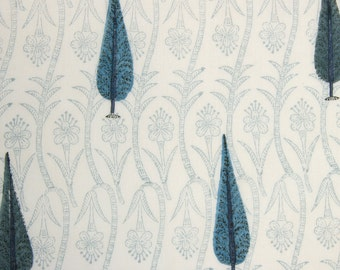 COTTON FABRIC DESIGN 4 - Block printed with cadet blue cypress trees