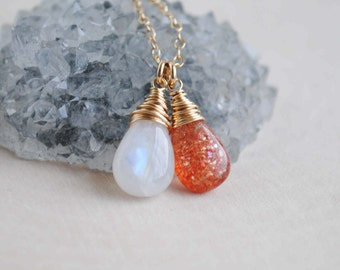 Moonstone Sunstone Necklace, Sunstone Moonstone Jewelry, Gemstone Duo Necklace
