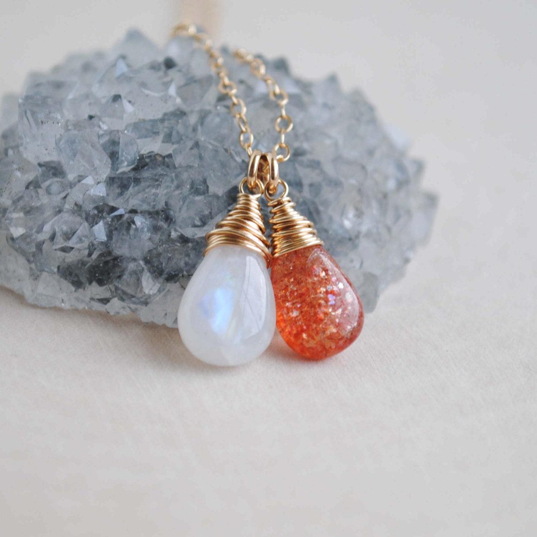 Moonstone Necklaces: Moonstone Sunstone Necklace Sunstone Moonstone Jewelry