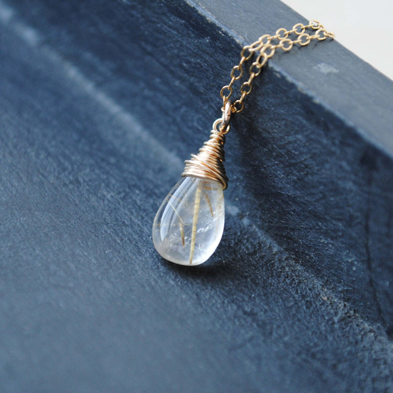 Rutilated quartz necklace golden rutilated by songyeedesigns for Golden rutilated quartz jewelry