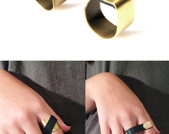 3 Finger Ring with Multiple Choises to Wear- Statement Leather Ring - Handcrafted Ring