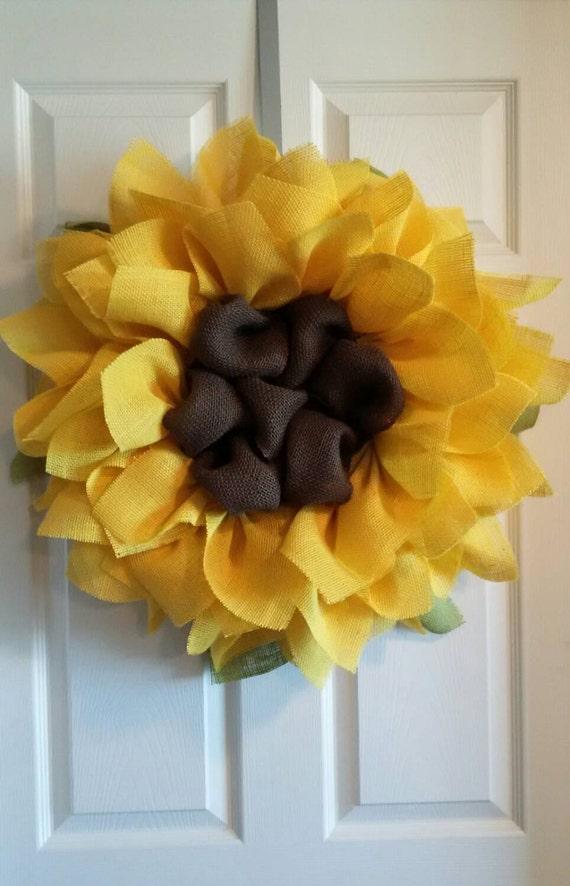 Sunflower Burlap Wreath Front Door Wreaths By