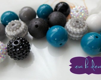 DESTASH Teal, Black, White, Gray Team Color Chunky Bubblegum Bead Mix   Rhinestone Solids Stripes 20 Beads