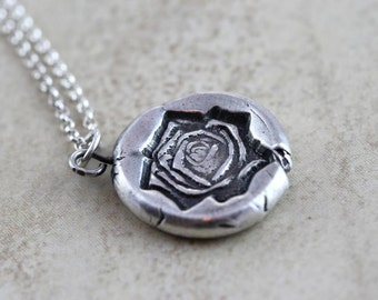 Rose Flower Necklace Fine Silver Necklace Sterling Silver Chain Oxidized Silver Botanical Jewelry