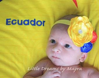Ecuador headband - ecuador baby headband - tricolor headband - Colombia headband - Venezuela headband