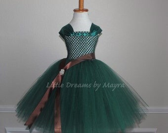 Hunter tutu dress, Princess Merida inspired tutu dress, Princess costume size nb to 9years