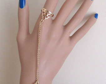 Art deco downtown Abbey ornate gold tone chain slave bracelet flapper ring bangle. Hand harness. Chain ring.  UK SELLER.