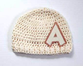 Hat | Kids | Cotton Crochet | Monogram | Personalized | Childrens Accessories | Ivory | Custom Boutique Hat | Newborns |  Free US Shipping