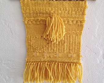 Woven Wall Hanging•Handwoven Wall Hanging•Fiber Art•Small Hand Woven Wall Art•Mustard Yellow Home Decor