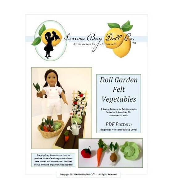 PATTERN for Doll Garden FELT VEGETABLES pdf scaled for American Girl®, 18-inch Dolls.  Includes bonus seed packet printable!