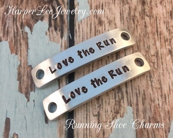 """Running Shoe Charm, Custom Hand Stamped Metal """"Runner"""" Inspirational Shoe Quotes, The perfect gift for any runner!"""