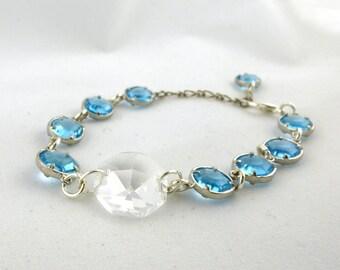 Blue Crystal Bracelet- Chandelier Crystal- Handmade- One of a kind