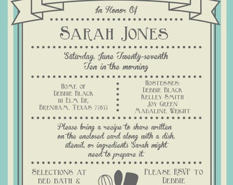 Kitchen & Recipe Bridal Shower Invitation