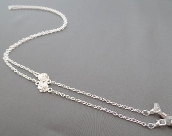Silver Rose Eyeglass Chain - Eyeglasses Chain - Eyeglasses Holder - Eyeglasses Leash - Lanyard