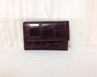 Conte  leather wallet,Conte,brown,leather, Wallet, Cowhide Leather, Made in Italy, Croc Embossed