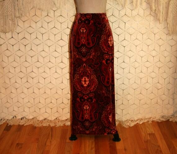 paisley jupe velours jupe jupe maxi jupe boh me hippie jupe. Black Bedroom Furniture Sets. Home Design Ideas
